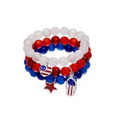 American Flag Heart, Star & Flip-Flop Charm Beaded Bracelet Set, Women's, multicolor