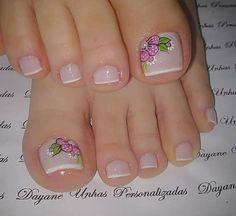 French Pedicure, Pedicure Colors, Pedicure Designs, Pedicure Nail Art, Toe Nail Designs, Toe Nail Art, Nail Art Diy, Nail Colors, Glitter Toe Nails