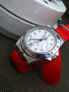 Rolex-White-Explorer II-16570T on Solid NATO End Link custom made for Rolex models : GMT, Submariner, Explorer, Daytona + Set of Two NATO straps, Brush [NEP2-NATOB-XX]