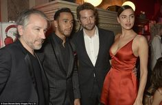 Supportive: Bradley went arm-in-arm with his gorgeous girlfriend Irina, who stole the show...