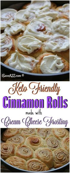 Keto Cinnamon Rolls Recipe – Low Carb and Made with Cream Cheese Frosting. I just made the best Keto Cinnamon Rolls Recipe that fits my Low . Desserts Keto, Desserts Sains, Keto Snacks, Dessert Recipes, Frosting Recipes, Paleo Dessert, Recipes Dinner, Lunch Recipes, Diabetic Snacks Type 2