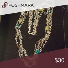 "Premier Designs ""Costa Rica"" Necklace NWOT Antiqued matte silver plated, glass, acrylic, and beads 32"" five strand necklace with 4"" extension with lobster claw closure. Strands can be worn several different ways, like 30 necklaces in 1. NWOT Premier Designs Jewelry Necklaces"