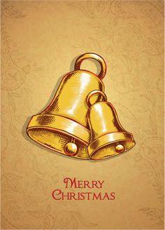 Christmas vector illustration with bells Vector Graphics, Vector Art, Christmas Holiday, Xmas, Bell Design, Decorative Bells, Vectors, Design Art, Celebration