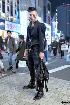 Harajuku Fashion Student w/ Chainmail Veil, Saint Laurent & Hiro x George Cox