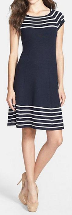 Striped knit flare dress http://rstyle.me/n/wj5k9nyg6