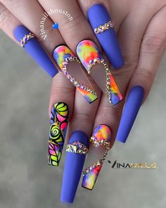 Neon Nail Designs, Cute Acrylic Nail Designs, Bling Acrylic Nails, Best Acrylic Nails, Glow Nails, Nail Candy, Crazy Nails, Fire Nails, Heart Nails