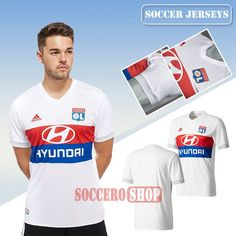 Custom Made Retro White/Red/Blue Lyon OL Home New Soccer Jerseys With My Name 2017 2018 Personalised