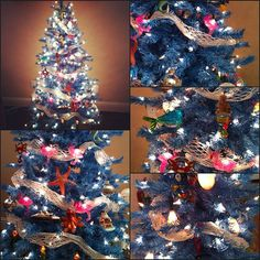 Our Baby Blue Christmas tree is the perfect hue for a beach themed-tree! #ChristmasInJuly