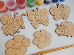 6 Laser Cut Wood Shapes: Bee Butterfly LadyBird Flower Wood Cutouts.Wooden Toys for Learning and Coloring.Fun and Easy Kids Crafts-028