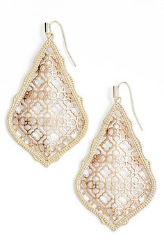 Free shipping and returns on Kendra Scott 'Mystic Bazaar - Adair' Earrings at Nordstrom.com. Kendra Scott's pretty quatrefoil logo makes a subtle appearance throughout these lovely openwork drop earrings framed with gold-plated, etched trim.