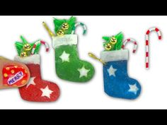 How to make a doll Christmas stocking and candy cane - Tutorial DIY - Miniatures & Dollhouse ❤ - YouTube