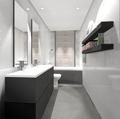 Baño en blanco y gris