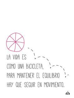 """#Cuadro con frase """"La vida es como una bicicleta"""" ♥ de La Kermesse   #Frases #Decoración #Hogar #Inspiración"""