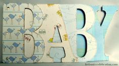 """Finished Baby Boy Word Album letters, part of the Scrapbooking in a """"Word"""" mini series at littlemisscelebration.com!"""