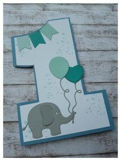 Stampin up Kids Birthday Geburtstag Fähnchenstanze rayher Elefant gor First Birthday Cards, Handmade Birthday Cards, First Birthdays, Baby Cards, Kids Cards, Cumpleaños Diy, Diy Birthday Invitations, Birthday Flags, Tarjetas Diy