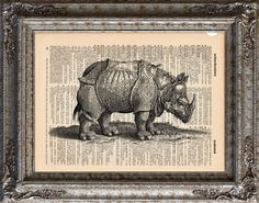 New to EcoCycled on Etsy: Rhinoceros on Vintage Upcycled Dictionary Art Print Book Art Print Jonstonus Recycled (10.00 USD)