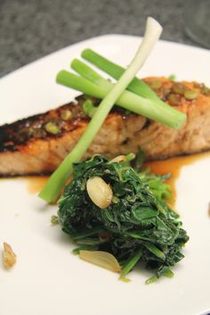 Citrus Soy Salmon with Garlic Spinach | MyFangalicious.com