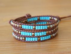 Beaded leather wrap bracelet Brown picasso by OlenaDesigns on Etsy