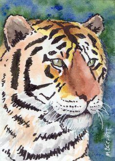 ACEO Original Painting Tiger cat wildlife animal stripes endangered orange brown #Impressionism