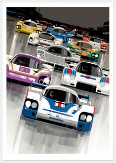 Add color and cars to your daily views with Guy Allen's masterful artwork. Sport Cars, Race Cars, Le Mans 24, Car Posters, Shops, Automotive Art, Vintage Racing, Vintage Cars, Guy