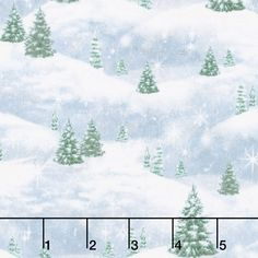 Woodland Friends - Pine Tree Scenic Blue Frost Yardage