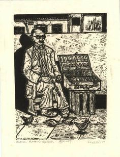 """Blind Vendor, District Six, Cape Town, 1967""- linocut by Norman Kaplan. http://normankaplan.co.za/ Tags: Linocut, Cut, Print, Linoleum, Lino, Carving, Block, Woodcut, Helen Elstone, Anti-apartheid, Exile, South Africa, Dignity, Political."