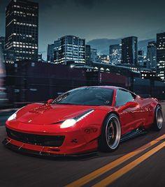 Red Liberty Walk Ferrari 458 Italia front side in motion Sports Car Wallpaper, Liberty Walk, Amazing Red, Ferrari 458, Car Wallpapers, Mopar, Luxury Cars, Cool Cars, Super Cars