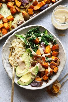 Try this sweet potato vegan buddha bowl recipe. This buddha bowl recipe is ready in under an hour and is packed with veggies, whole grains, and tasty tahini. It is perfect for a meatless dinner or for a meal-prep lunch for the week. Diet Recipes, Vegetarian Recipes, Vegan Bowl Recipes, Vegan Sweet Potato Recipes, Shrimp Recipes, Vegan Vegetarian, Veggie Recipes For Lunch, Vegetable Recipes, Vegan Brussel Sprout Recipes