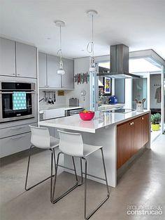 cozinha, cinza, branco, madeira, cimento queimado