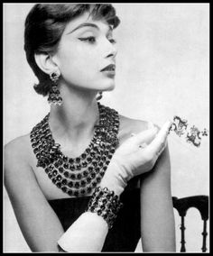 Marie-Hélène Arnaud, jewelry by Roger Scémama created for Jacques Fath, photo by Guy Arsac, 1955