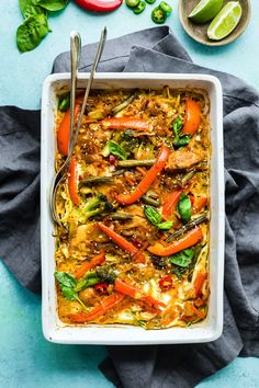 This Drunken Chicken Zoodle Casserole takes a spin on the originalPad kee mao Asianstir fry and puts in casserole form. A Paleo Noodle Zoodle Casserole withtons of flavor, Thai spices, and simple healthy ingredients! Light and delicious.