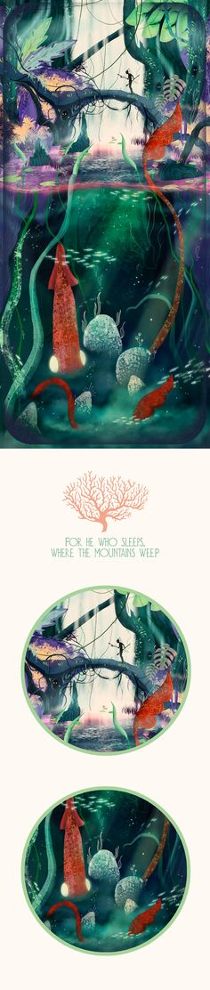 For he who sleeps, where the mountains weep. Illustration Project.