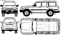 Toyota Land Cruiser blueprints, vector drawings, clipart and pdf templates Land Cruiser Fj80, Toyota Land Cruiser, Toyota 4x4, Toyota Hilux, Landcruiser 80 Series, Carros Toyota, Land Rover Defender 110, 3d Studio, Expedition Vehicle