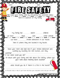 As we welcome in October and cooler temperatures we prepare to start spending the cooler days inside keeping warm. With heaters, firepl. Printable Worksheets, Free Printables, Fire Safety Week, Fire Safety For Kids, Child Safety, Fire Prevention Week, Injury Prevention, Cub Scout Activities, American Heritage Girls
