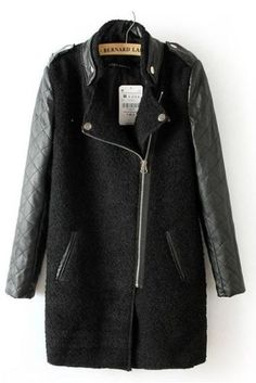 Black Contrast Leather Quilted Sleeve Zipper Coat - Sheinside.com Mobile Site