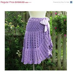 June Sale Women's Crochet Skirt - Size S/M - Converts to Tunic or Poncho - Lavender - by Annie Briggs  'BRIDGET'