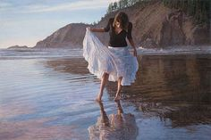 """Reflecting on Indian Beach by Steve Hanks LIMITED EDITION PRINT Image size: 30""""w x 20""""h."""