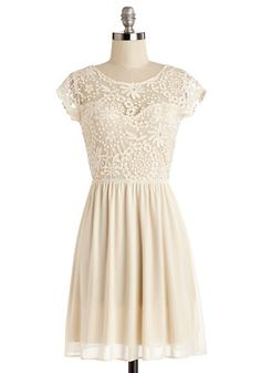 All in Awe Dress - Cream, Solid, Embroidery, Special Occasion, Wedding, Bride, A-line, Cap Sleeves, Summer, Woven, Good, Scoop