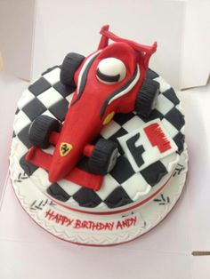 Formula 1 birthday cake, this cake was created by Sioned for Andy, another member of the team as a surprise! Special Birthday Cakes, Birthday Cakes For Men, Cakes For Boys, Racing Cake, Race Car Cakes, Rehearsal Dinner Cake, Happy Birthday Andy, Ferrari Cake, Car Cake Toppers