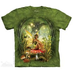 T-shirt | Toadstool Fairy T-shirts  $19.99 This high quality T-shirt is hand dyed and printed in the United States. This is not an iron-on decal that will crack and flake off. The ink is deeply embedded in the fibers which guarantees a long lasting print design and extraordinary comfort.  100% Cotton Pre-shrunk