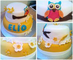 Le gâteau hibou :) Premières décos en pâte à fleurs !