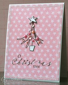 Pink petticoat - retro script and pink Christmas tree Pink Christmas Tree, Noel Christmas, Christmas Crafts, Xmas Cards, Holiday Cards, Beautiful Handmade Cards, Winter Cards, Card Tags, Cute Cards