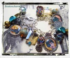 Steampunk  Altered art charm bracelet  one of a kind, all handmade   by Bostoncharm