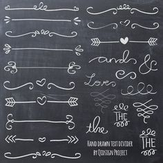 Hand drawn chalk doodle text divider, swirly, clip art for scrapbooking, wedding invitation, personal and commercial use, instant download by qidsignproject on Etsy
