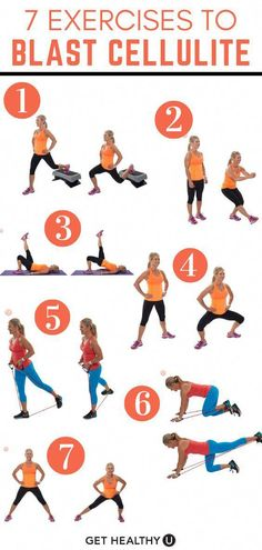 These 7 strength training exercises focus on the most cellulite-prone areas of your lower body, including the glutes and thighs. Try these exercises times per week for best results! Cellulite On Arms, Thigh Cellulite, Cellulite Wrap, What Is Cellulite, Cellulite Exercises, Cellulite Remedies, Reduce Cellulite, Anti Cellulite, Cellulite Workout