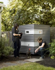COOP DREAMS  Switching coasts from Brooklyn to Portland gave architects Mitchell Snyder and Shelley Martin a new set of unexpected clients: three young hens.  Photo by: John Clark