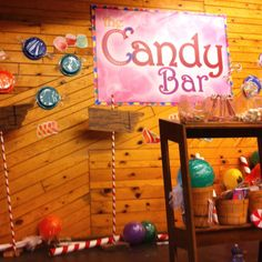 Candy land decor: colored plastic plates and balloons wrapped in cellophane, pinch and tape ends; PVC wrapped w/ red painters tape