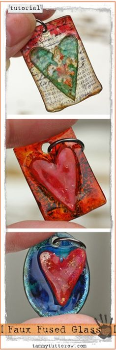 Faux Fused Glass Jewelry Tutorial by Tammy Tutterow Gloucestershire Resource Centre http://www.grcltd.org/scrapstore/