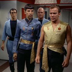 """Mirror universe Spock and our Kirk from the 1967 original Star Trek series episode """"Mirror, Mirror"""". A transporter accident sends the landing party to an alternate universe, where the Federation is a barbaric empire. Star Trek 1966, Star Trek Tv, Star Wars, Star Trek Original Series, Star Trek Series, Star Trek Enterprise, Spock, Mirror Universe, Star Trek Episodes"""