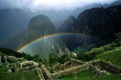 Rainbow Over Machu Picchu Peru - machu, picchu, peru, rainbow, over, nature, mountains, mountan, perfection, fantstic
